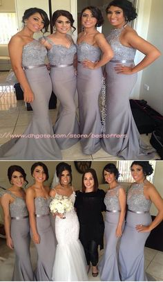 2018 Popular Four Differnt Styles Mismatched Lace Grey Sexy Mermaid Long Bridesmaid Dresses The long prom dresses are fully lined, 4 bones in the bodice, chest Grey Bridesmaids, Mermaid Bridesmaid Dresses, Mismatched Bridesmaid Dresses, Wedding Dresses, Bridesmaid Hair 2018, Bridesmaid Ponytail, Bridesmaid Color, Affordable Dresses, Dream Dress