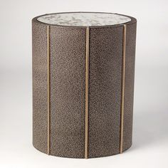 "GRATS DÉCOR | Churchill 16"" x 12"" Oval Drum Table - Faux Shagreen"