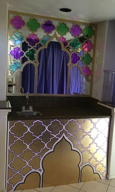 Andrea's Arabian Nights: My own props: building in progress, cardboard cutouts arches and mosaic for wet bar mirror. Still in progress