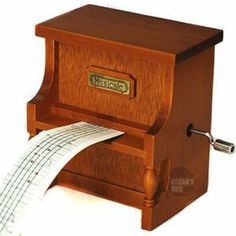 Antique Vintage Wooden Music Box Musical Piano, DIY Make Yr Own Song Include a Punch and 3 Music Papers, 1 Has Musical Note and 2 Are Blank and You Can Create Your Own Song! And You Can Also Use a Thickness Paper to Create Music Paper!