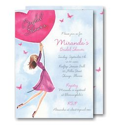 Butterflies & Balloons Bridal Shower Invitation
