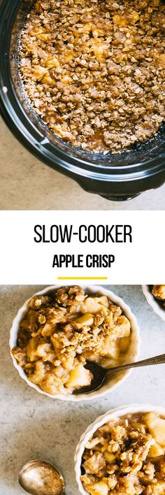 It's apple picking season, so grab all your good ones and  your instant pot or crockpot slow cooker and make this slow cooker recipe for slow cooker apple crisp. This is an easy-made dish as its a make ahead meal and you can throw it in the slow cooker whenever you're in the mood for something sweet. You'll need all-purpose flour, rolled oats, brown sugar, ground cinnamon, kosher salt, unsalted butter, granulated sugar and lemon juice.