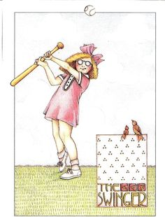 The Swinger Ladies Softball Refrigerator Locker Magnet with Mary Engelbreit Art | eBay