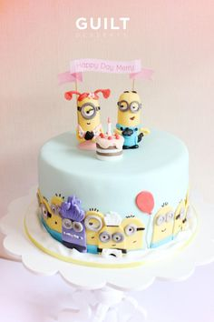 Another of my Minion Party cake! Banana cake with strawberry cream cheese inside. They loved the cake. Torta Minion, Bolo Minion, Minion Cakes, Crazy Cakes, Fancy Cakes, Pretty Cakes, Cute Cakes, Fondant Cakes, Cupcake Cakes