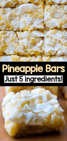 Pineapple Bars (Easy Snack Recipe) Vegan Sweets, Healthy Desserts, Delicious Desserts, Vegan Food, Yogurt Recipes, Baking Recipes, Snack Recipes, Vegetarian Recipes, Pineapple Desserts