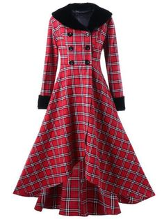 Autumn Winter Plus Size 5XL Outwear Women Casual Double Breasted Checked Plaid Swing Coat