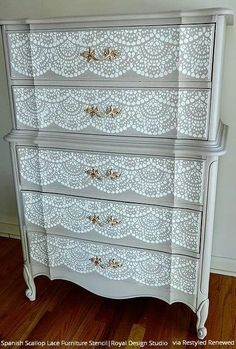 Small Scallop Lace Furniture Stencil Farmhouse Shabby Chic #paintedfurniture #affiliate #diy