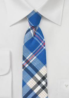 Summer Cotton Plaid Tie in Blues