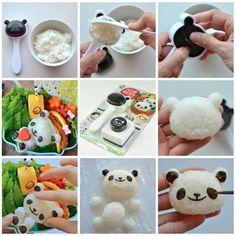 // Tutorial for Panda Onigiri Set for Bento // #DIY #crafts: