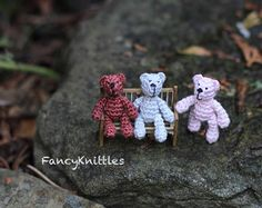 Crochet Bear ONE Dollhouse miniature toy 1 inch doll tiny crochet art doll micro miniature fancy amigurumi doll for 1/12 doll collectable