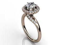 14k rose gold diamond engagement ring, bridal ring, wedding ring by Jewelice, $1240.00