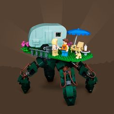 Markus Rollbühler is free to roam anywhere with his caravan-carrying mecha Lego Camper, Lego Droid, Cool Lego, Awesome Lego, Lego Mecha, Lego Military, Lego Design, Lego Models, The Brethren