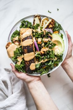 Spicy Chipotle Salmon Kale Salad