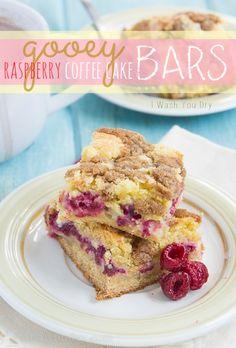 Gooey Raspberry Coffee Cake Bars - I Wash You Dry