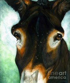 Pete the Mule. Watercolor painting by Janine Riley. Country Western decor Art work. Animals as furry friends.