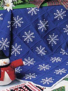 Crochet snowflake afghans in pretty winter colors