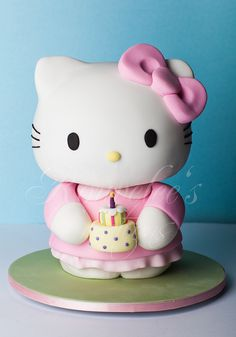 For a hello kitty fan! My sis-in-law's birthday cake. All cake with the exception of the arms and little cake which are fondant. Bolo Hello Kitty, Hello Kitty Birthday Cake, Yummy Cupcakes, Cupcake Cookies, Kitty Cupcakes, Ladybug Cupcakes, Snowman Cupcakes, Giant Cupcakes, Pretty Cakes