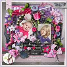 """Photo from album """"sisterly love"""" on Yandex. Free Digital Scrapbooking, Digital Scrapbook Paper, Sister Love, Printable Paper, Love Design, Cover Pages, Views Album, Diy And Crafts, Clip Art"""