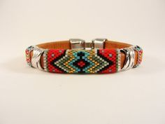 Tribal War Paint Licorice Leather Bangle by Calisi on Etsy, $50.00