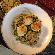 Day 12 Lunch: Pan-seared scallops from USQ market over quinoa with walnut-parsley pesto. Yes, I made it!!!
