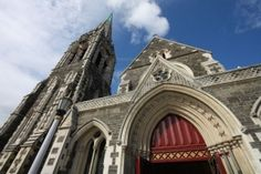 Picture of ChristChurch Anglican cathedral in Christchurch, Canterbury, New Zealand stock photo, images and stock photography. Canterbury New Zealand, Anglican Cathedral, Barcelona Cathedral, Stock Photos, Spaces, Building, Pictures, Photography, Travel