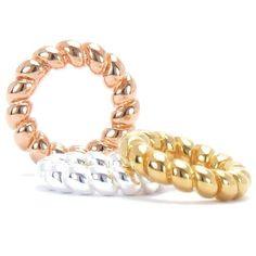 Set of 3 Bella Fascini 14k, Rose Gold & Silver Petite Twist Spacers Fits Pandora & Compatible Brands