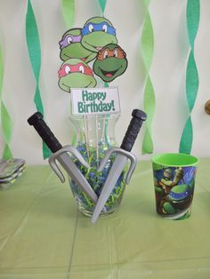 TMNT centerpiece - P.S. I made this!!