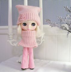 Blythe....Blythe Outfit....Pants, Sweater Caplet, and Hat All in Pink Angora, Wool and Denim