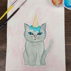 O gatinho que pensa ser um unicórnio 😻🦄🍦 era minha ilustra pro #ilustraday do mês passado, que o tema era Unicórnios, mas saiu bem atrasada 🙈 Espero que tenham gostado 😘😘 Ótimo feriado a todos! #aquarelinhas