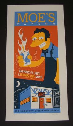 Simpsons Moes Tavern Dave Perillo Poster S/N 2013 COA
