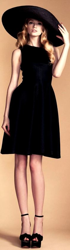Temperley London. Black dress + huge hat. women fashion outfit clothing style apparel @roressclothes closet ideas