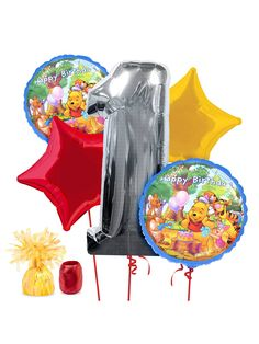 Pooh 1st Birthday Balloon Kit! See more birthday party planning ideas at BirthdayinaBox.com!