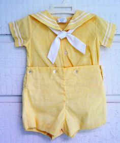 e00633880 Vintage Boys Yellow Checked Sailor Suit- 9 and 12 months- New, never worn
