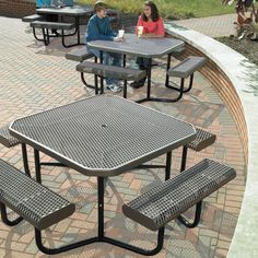 Octagonal picnic tables give easy seating access. Space Saving Furniture, Home Decor Furniture, Table Furniture, Furniture Design, Steel Furniture, Industrial Furniture, Rustic Furniture, Modern Furniture, Metal Picnic Tables