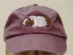 GUINEA PIG HAT - One Embroidered Wildlife Cap - Price Embroidery Apparel - 24 Color Caps Available by priceapparel on Etsy https://www.etsy.com/listing/120315858/guinea-pig-hat-one-embroidered-wildlife