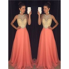 2017 A-line Chiffom Evening Dresses Crystals Long Prom Dresses #Unbranded #Aline #Formal