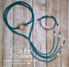 Blessed heart choker. Aquamarina choker set. by CaroAccessories