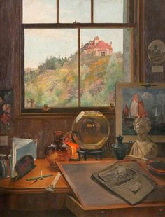Robert Lillie (1867 - 1949) 'At My Studio Window' http://firstknownwhenlost.blogspot.com/2014_04_01_archive.html