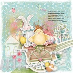 Scrap your favorite spring or Easter photos with the Spirit of Spring Digital Scrapbook Kit by Snickerdoodle Designs