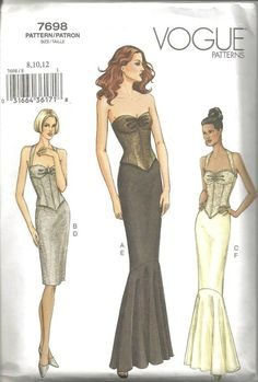Sz - Vogue Seperates Pattern 7698 - Misses' Bustier Tops and Semi-Fitted Straight Skirts in Three Variations - Vogue Patterns Corset Sewing Pattern, Skirt Patterns Sewing, Skirt Sewing, Mermaid Dress Pattern, Strapless Bustier, Wedding Dress Patterns, Wedding Dresses, Do It Yourself Fashion, Straight Skirt