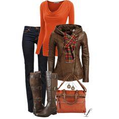 Cute winter look #winter #fall #winter look #jacket #sweater #jeans #boots