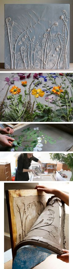 Fossils from Everyday Life: Plaster Cast Plant Tiles by Rachel Dein(Try Design)