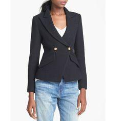 Rank & Style Top Ten Lists | Smythe Double Breasted Blazer #rankandstyle #topten #best #blazers #jackets #black #workwear #professional #fashion #style