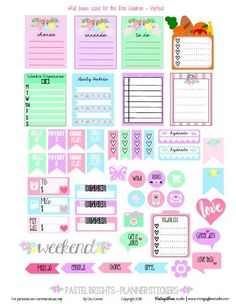 Pastel Brights Planner Stickers | Free printable, for personal use only.