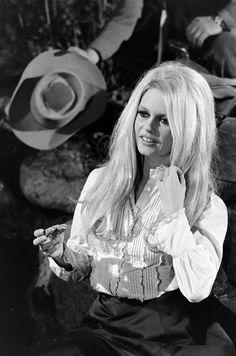 Brigitte on the set of Shalako, 1968.