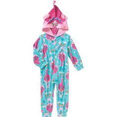 Trolls Poppy Toddler Girl Zip-UP Fleece Hooded Blanket Sleeper