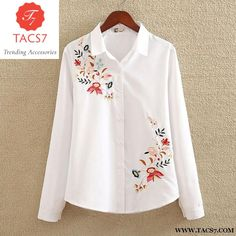 nvyou gou 2018 Floral Embroidered Blouse Shirt Women Slim White Tops Long Sleeve Blouses Woman Office Shirts plus size-noashe Plus Size Shirts, Plus Size Blouses, Shirt Embroidery, Embroidered Blouse, Embroidery Store, Flower Embroidery, Chemises Country, The Office Shirts, Mein Style