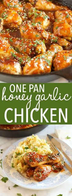 This One Pan Honey Garlic Chicken is an easy weeknight meal idea with a simple 5-ingredient sticky sauce, made all in one pan in less than 30 minutes! via @busybakerblog