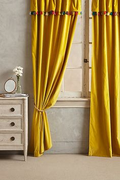 Firenze Velvet Tassel Curtain #anthropologie - sold out but wonder if this could be copied
