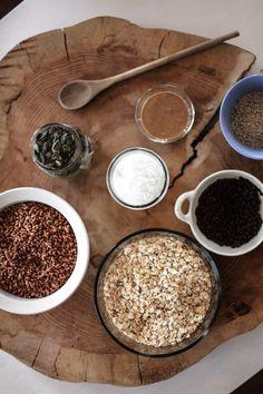 Barres énergie végane à l'avoine et beurre d'amandes Vegan Sweets, Vegan Food, Vegan Recipes, Barre Energie, Cereal, Vegetarian, Snacks, Breakfast, Healthy